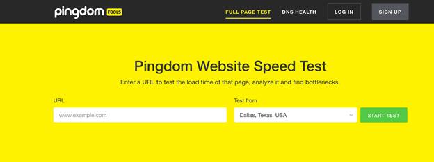 Контроль скорости pingdom tools