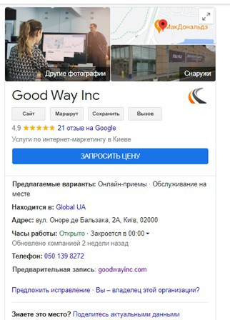 My Business Google Goodway Inc